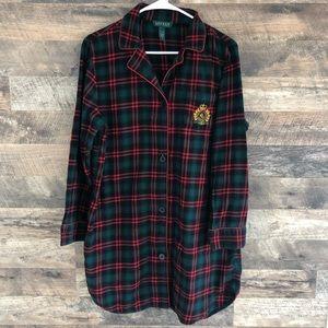 Large Ralph Lauren Button Down Flannel Nightgown
